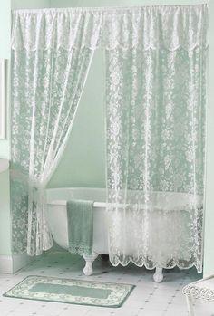 white lace shower curtain. Vintage White Lace Shower Curtain \u0026 Valance Set New! H