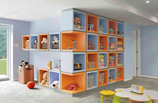 interesting storage idea with colors, here shown in kid room context, but could be used to solve our lack of built in storage issues?
