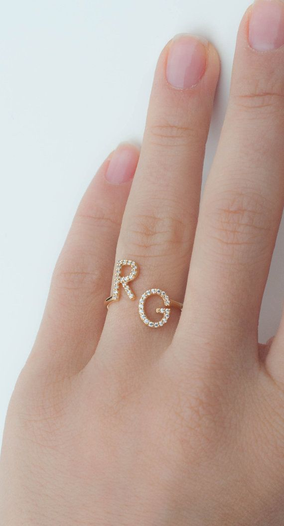 Initial Ring Couples Ring Couples Gift Personalized Wedding Gift Personalized Ring Letter Ring Perso Gold Ring Designs Jewelry Gold Jewelry Fashion
