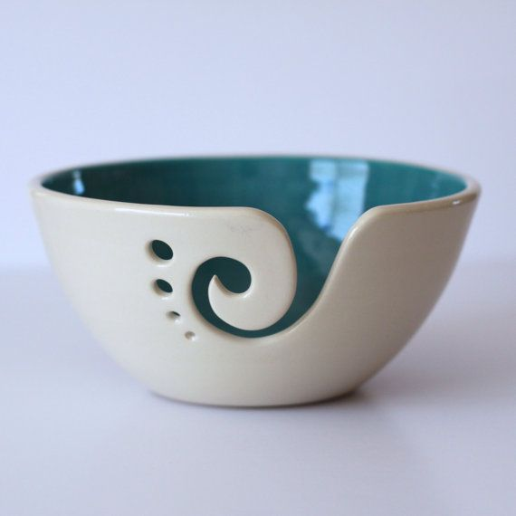 Turquoise Ceramic Yarn Bowl, Yarn Bowl, Knitting Bowl, Crochet Bowl, Turquoise and White Yarn Bowl, Made to Order #diyyarnholder
