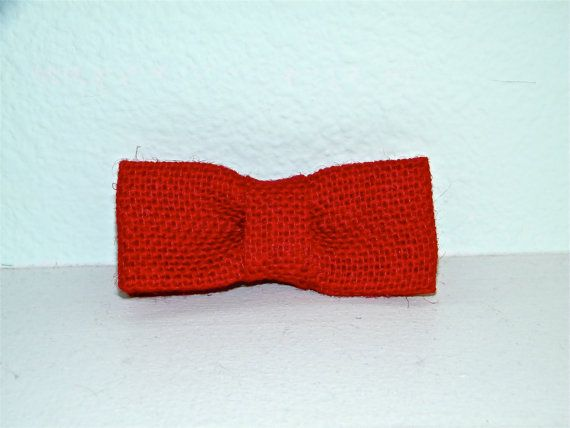 Boy's Red Burlap Bow Tie Clip On