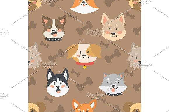 Dogs heads seamless pattern background vector set.. Pattern Vectors