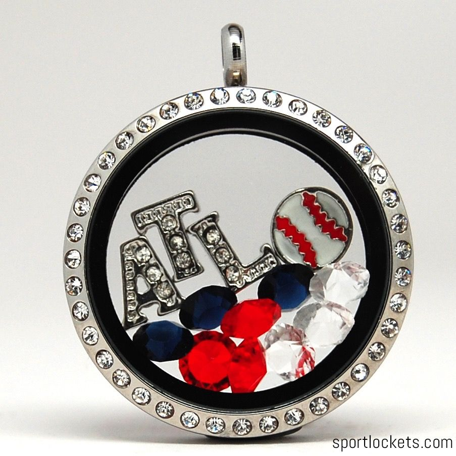 Atlanta Braves Baseball Themed Locket Necklace From Sportlockets Com Customize With Your Own Letters Atlanta Baseball Atlanta Braves Baseball Atlanta Braves