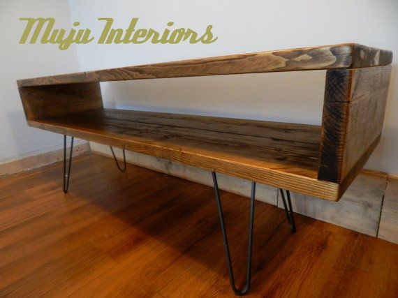 industrial retro tv unit reclaimed wood hairpin by