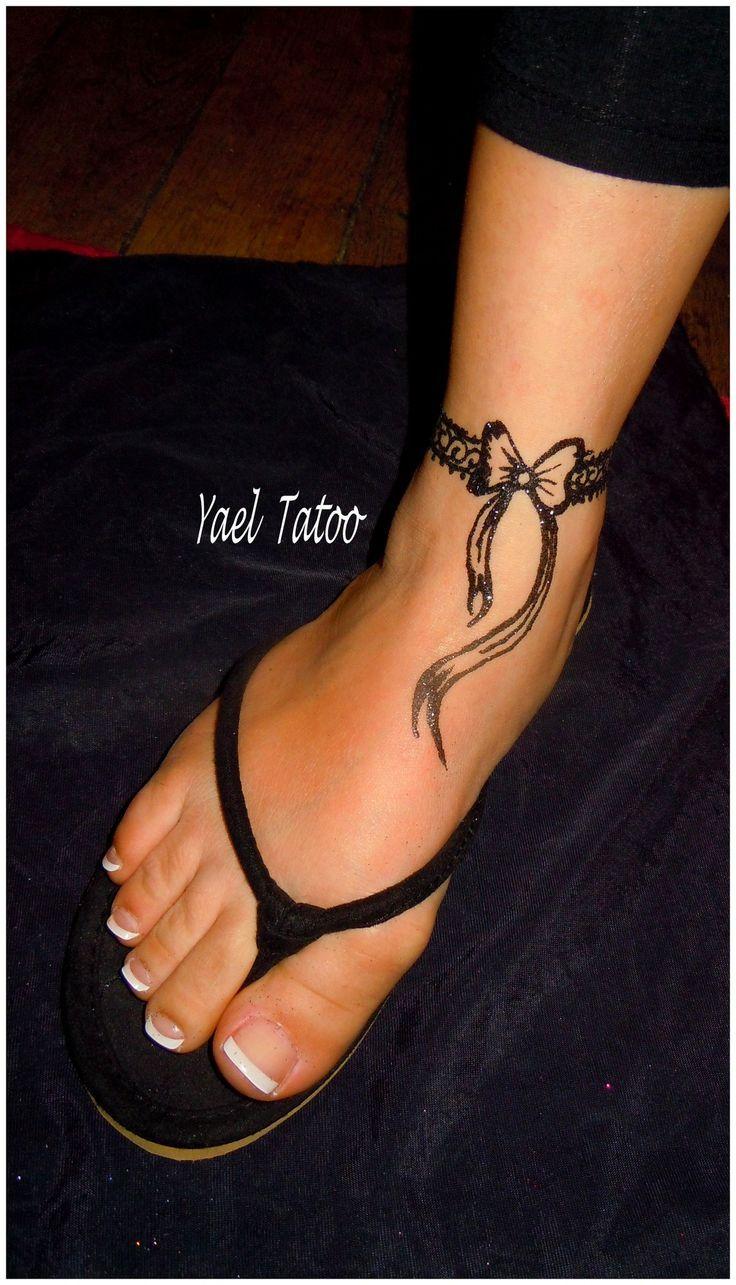 Tatouage bracelet cheville dentelle noeud