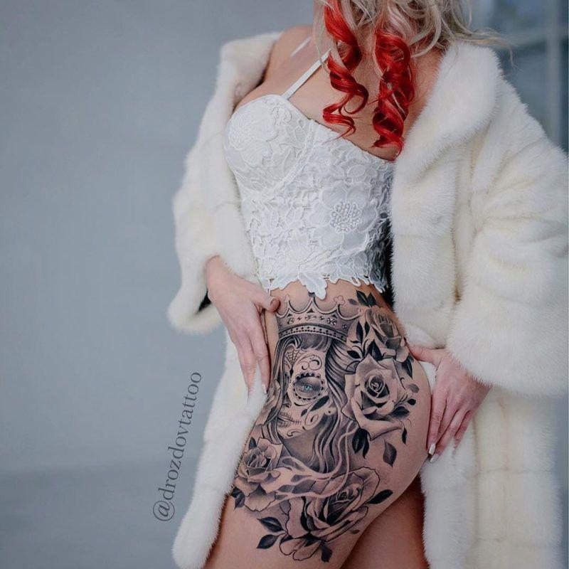 nice tag der toten tattoo h fte tattoos pinterest. Black Bedroom Furniture Sets. Home Design Ideas