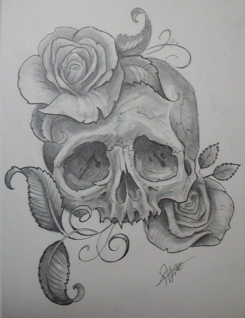 Skull With Roses By Jwheelwrighttattoos On Deviantart Skull