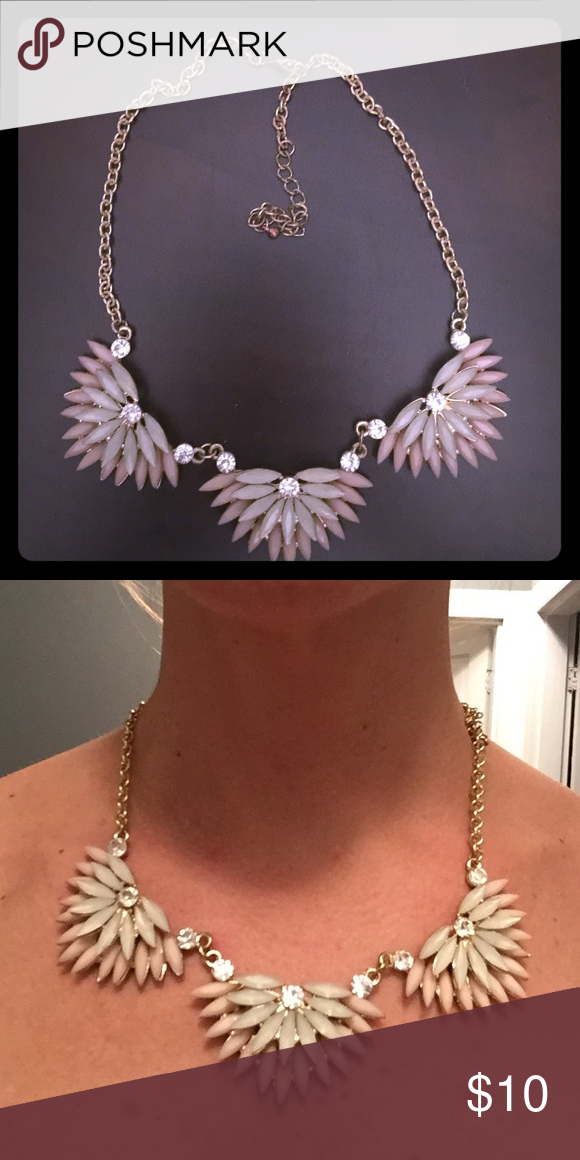 Statement necklace This necklace was worn only once, for a friend's wedding. Color is light pink, cream, and gold. It shows wear on the gold chain a bit, but the main pieces are in great condition. It is perfect for a formal or semi-formal night out. Jewelry Necklaces