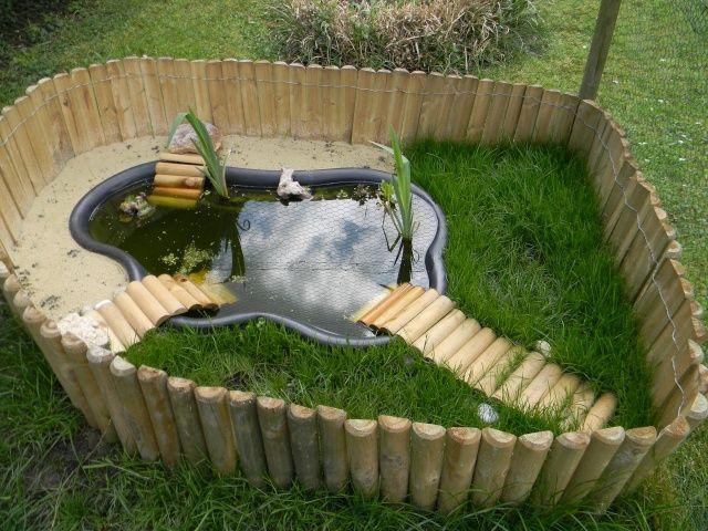 Bassin d 39 ext rieur pour tortues jardin pinterest for Pompe bassin poisson exterieur