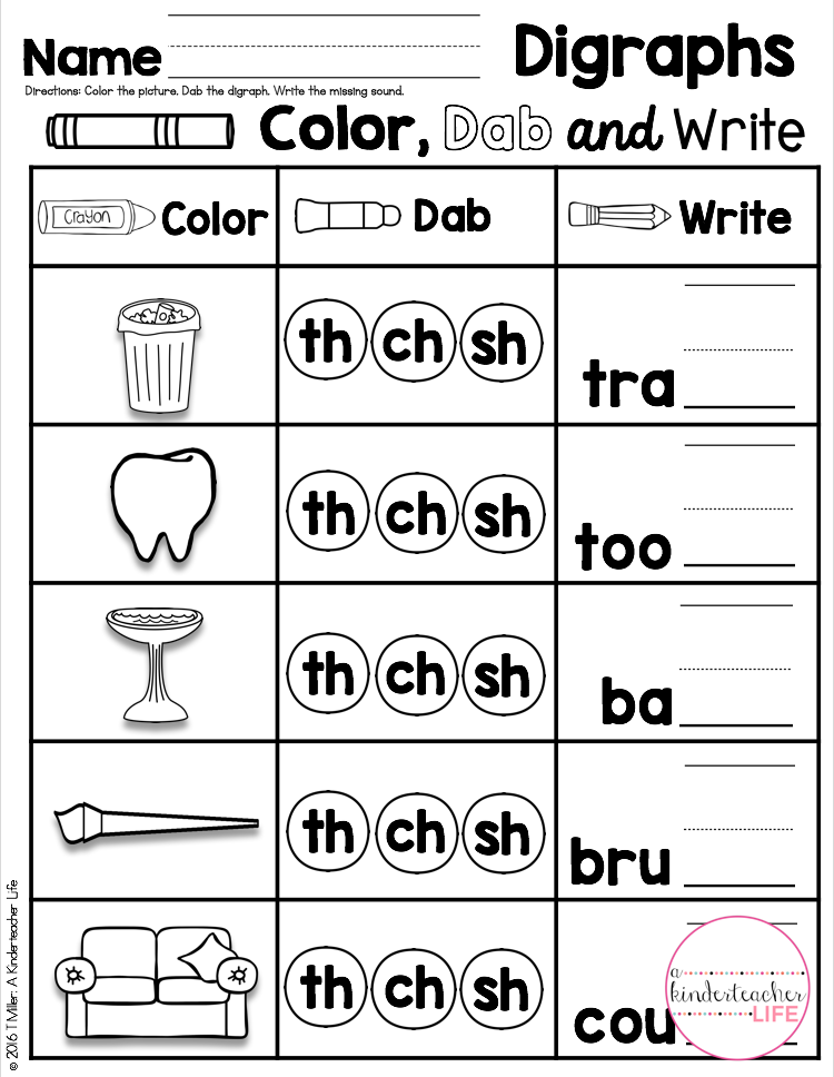 Digraph Practice Say The Word Dab The Digraph And Fill In The Missing Digraph Phonics Kindergarten Worksheets Phonics Worksheets