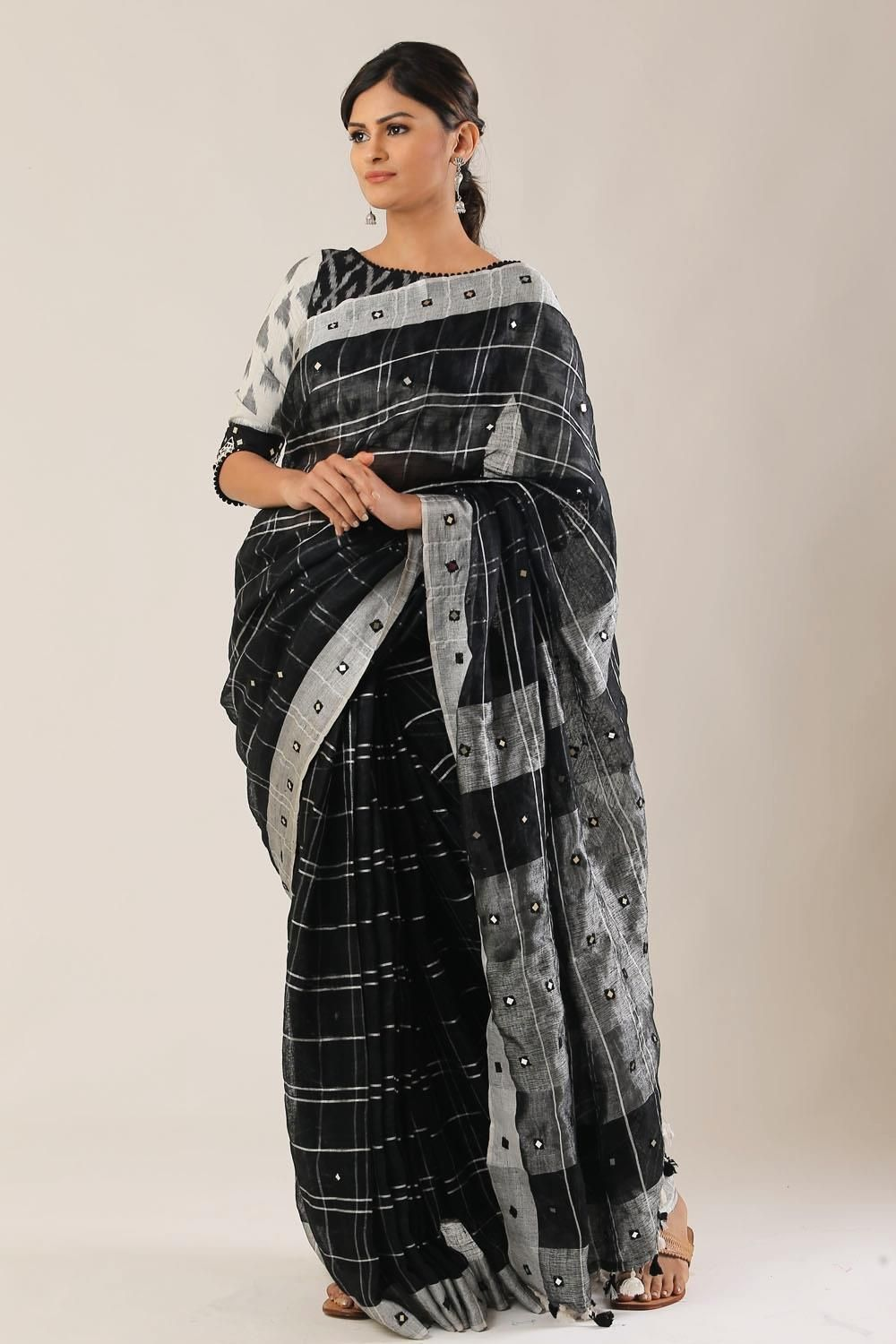 b78f26d574acdd Black checked linen saree with silver border and faux mirrorwork  saree   blouse  houseofblouse  indian  bollywood  style  designer  black  silver ...