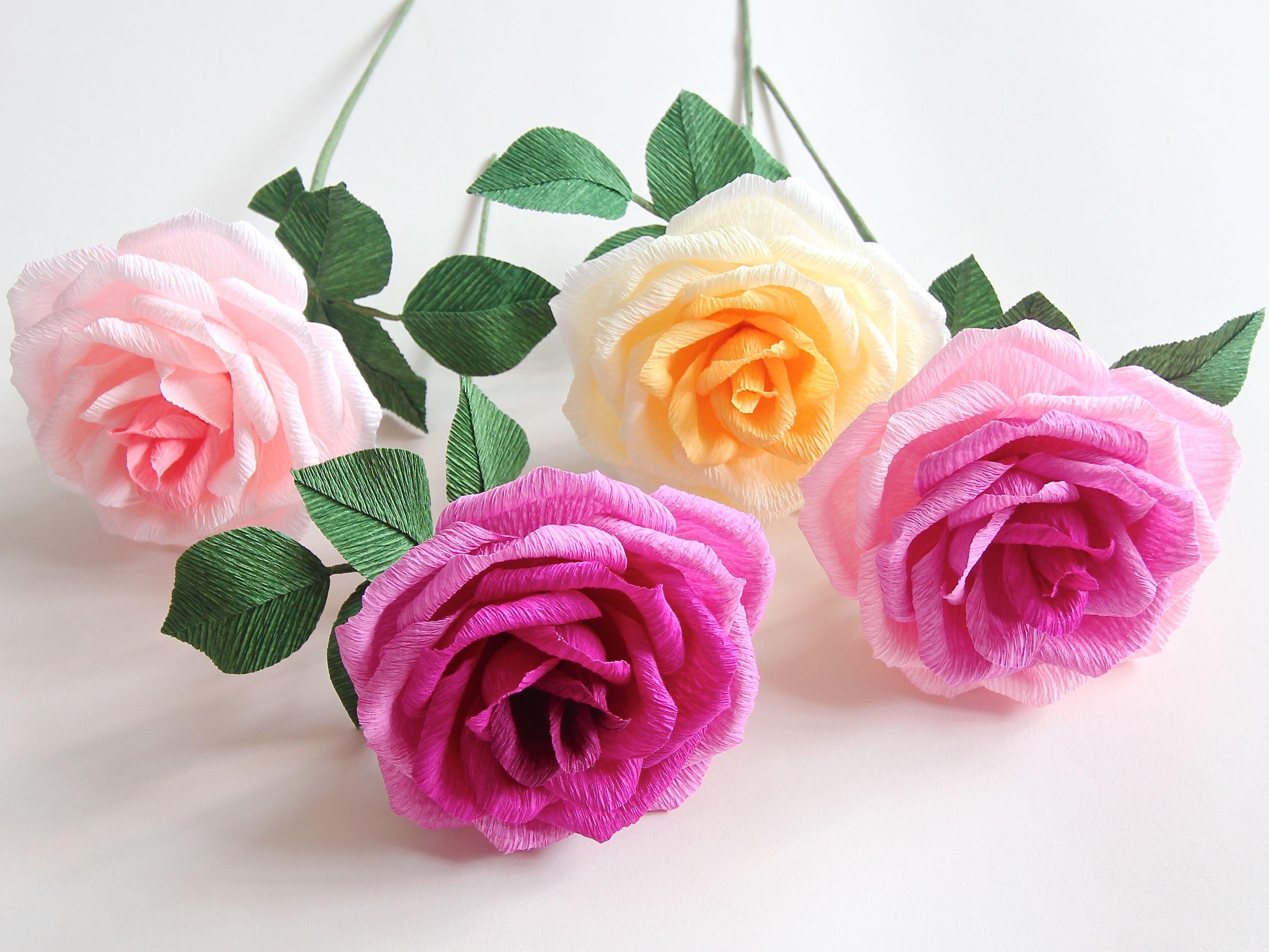 Twotoned crepe paper roses diy pinterest