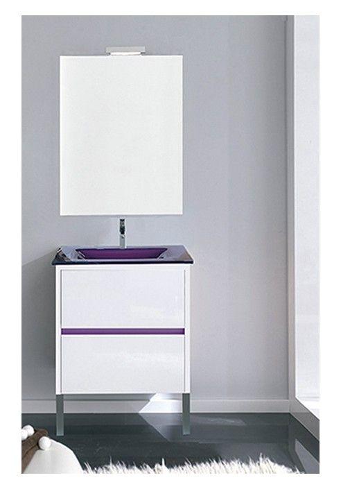 Conjunto de mueble de baño Nuria 60 cm. en blanco o Lila con 2 ...