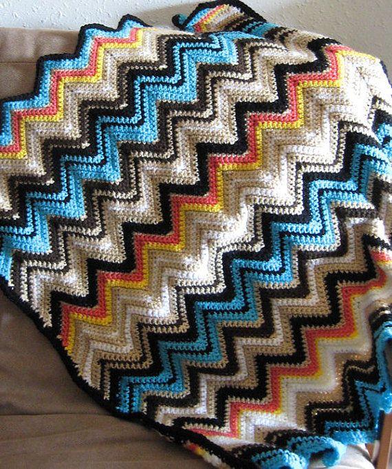 Missoni Inspired Crochet Baby Blanket Todder Ripple Zig Zag Blanket ...