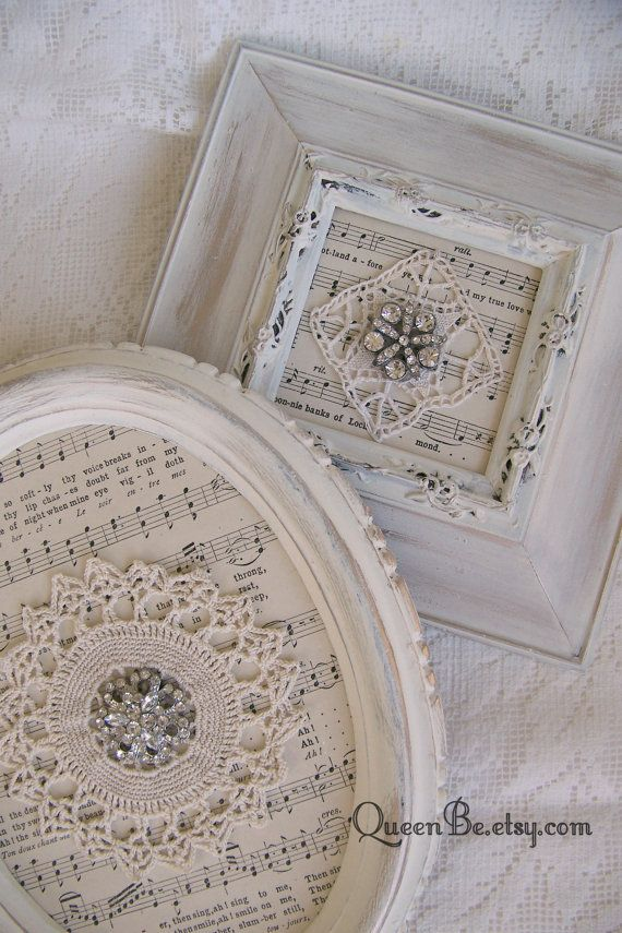 Shabby White Decor Altered Lace Art Vintage Rhinestone Collage Wall ...