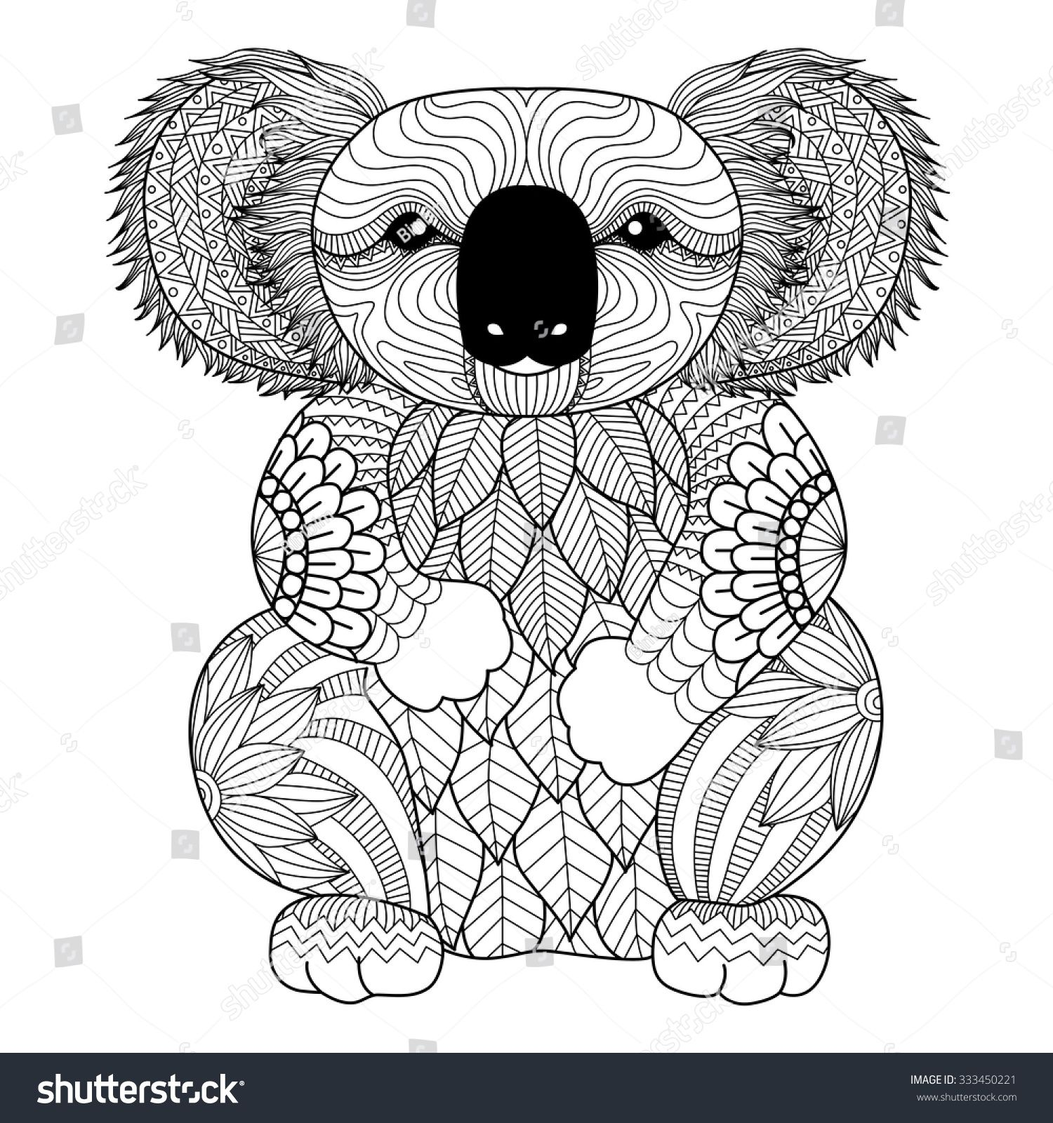 Drawing zentangle Koala for coloring page, shirt design effect, logo ...