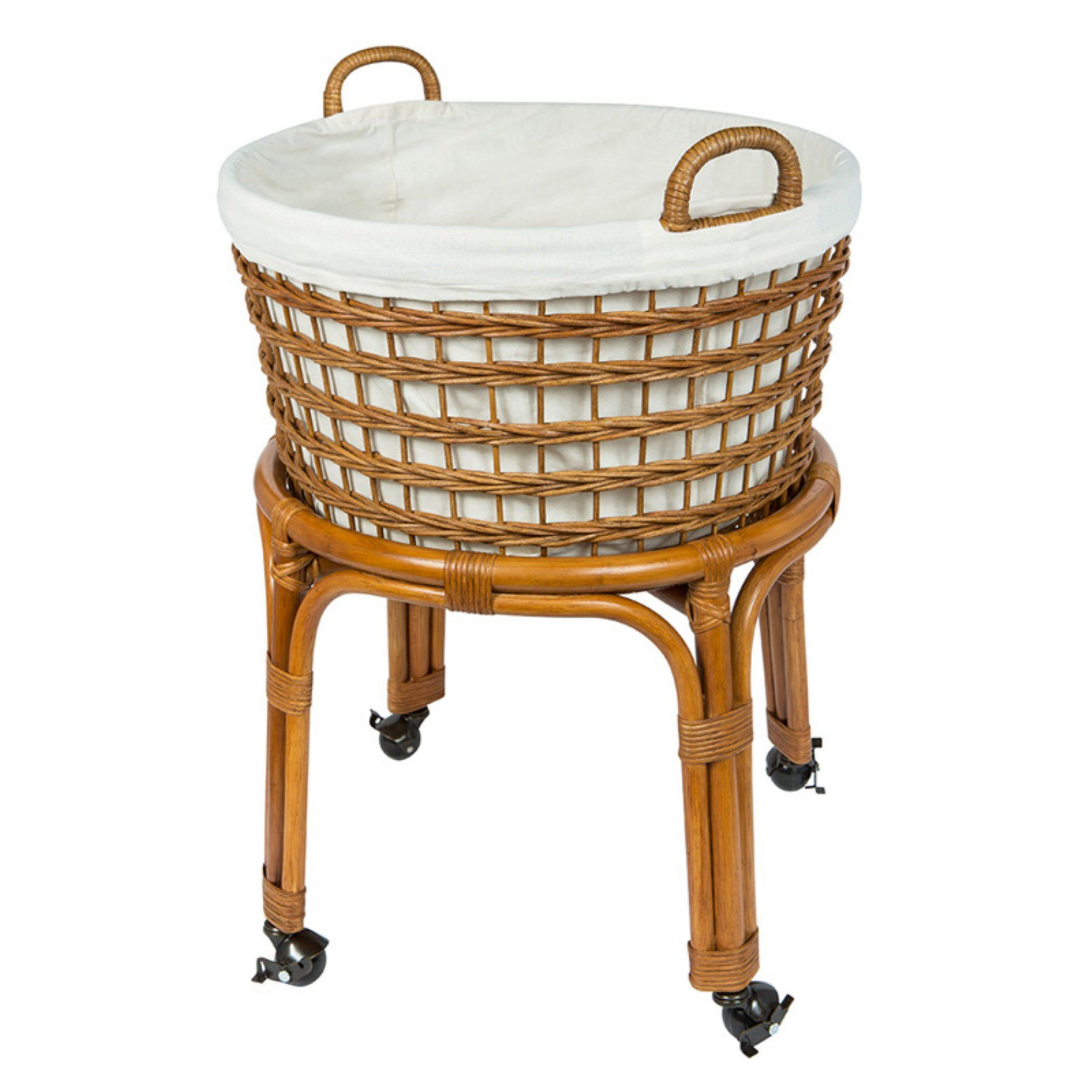 Kouboo Llc Rolling Wicker Laundry Basket And Hamper With Cotton