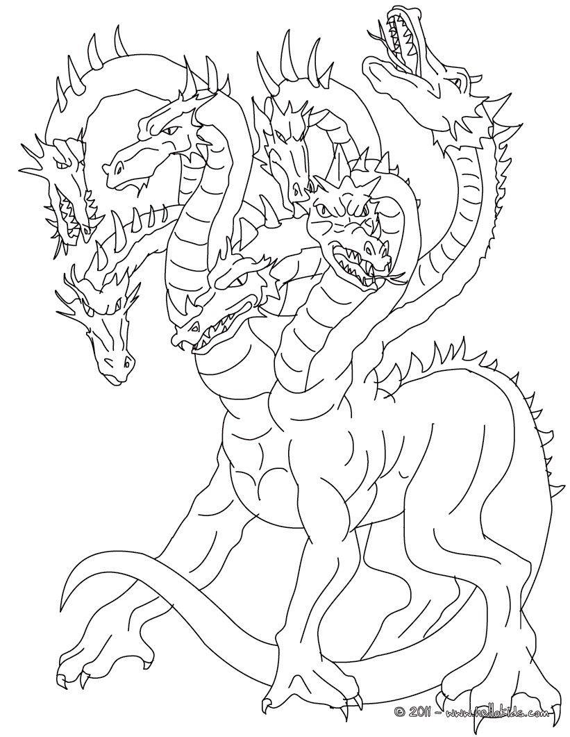 Kleurplaat Lernean Hydra The 100 Heads Water Dragon Coloring Page