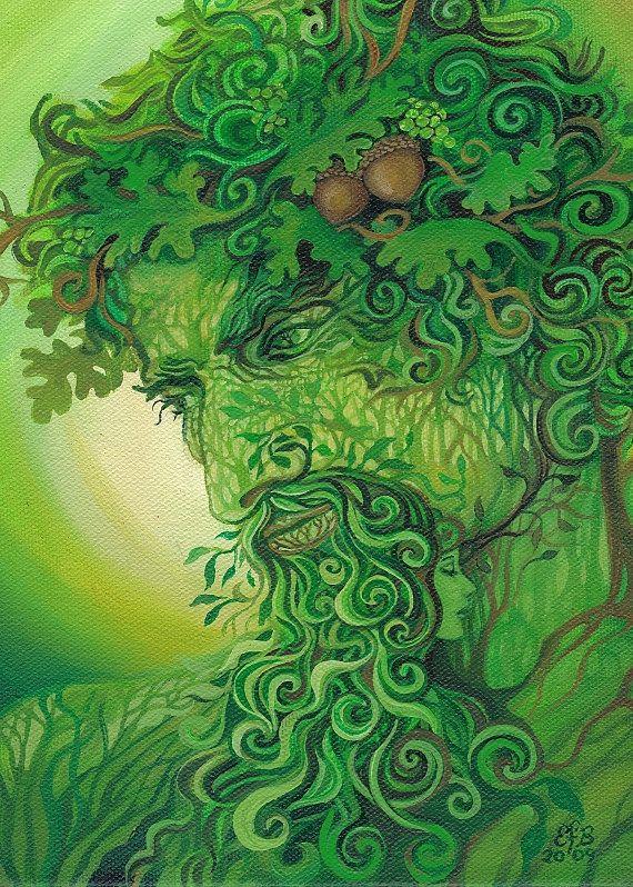 Homme vert carte de voeux vierges de mythologie par EmilyBalivet