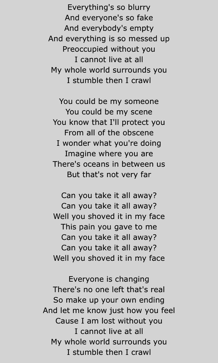 Puddle of Mudd- Blurry | Lyrics | Music lyrics, Song lyric