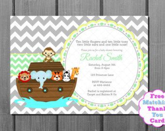 Green   Yellow With Grey Chevron Noahu0027s Ark Baby Shower Invitation And FREE  Thank You Card