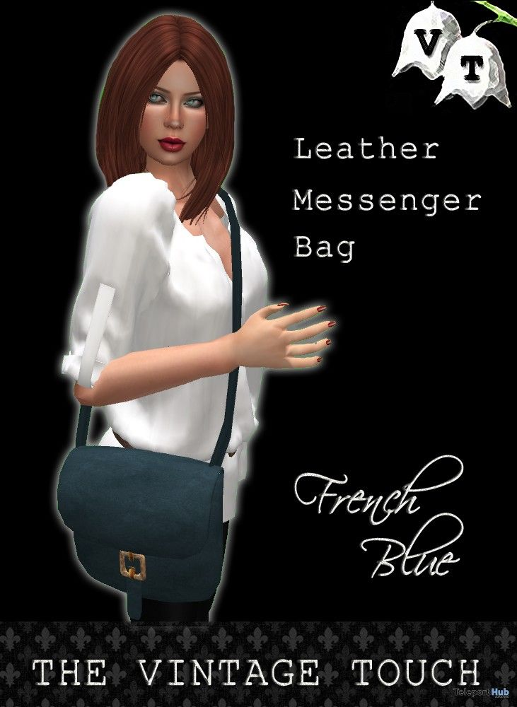 French Blue Leather Messenger Bag Group Gift by Vintage Touch