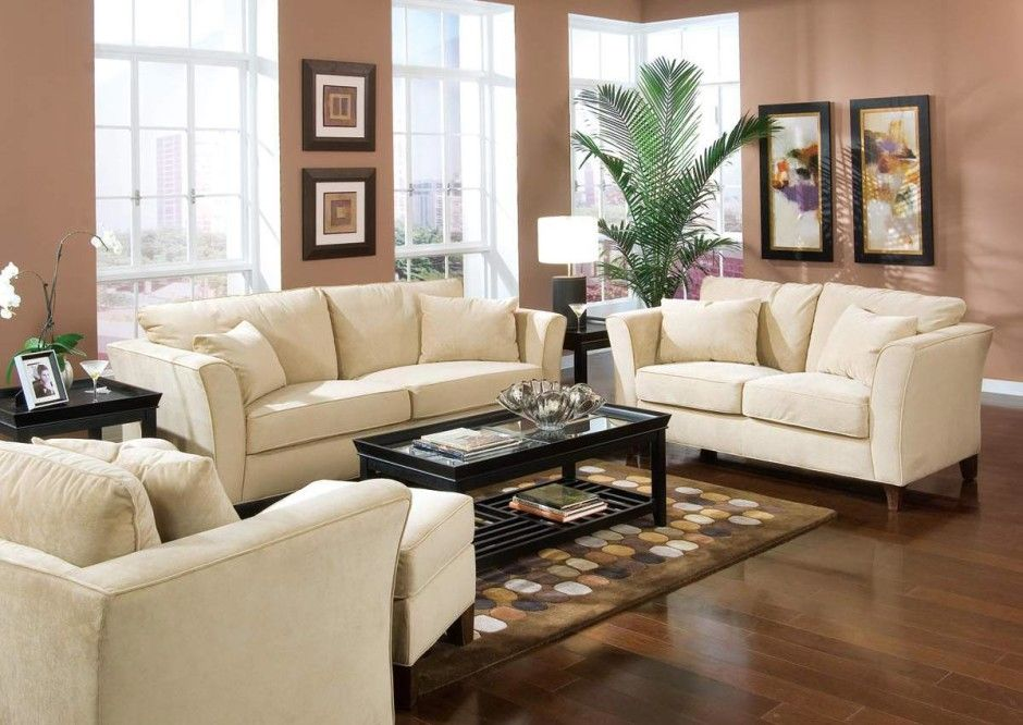 Room Neutral Brown Paint Colors For Living With White Sofa Sets And Dark Hardwood Floors