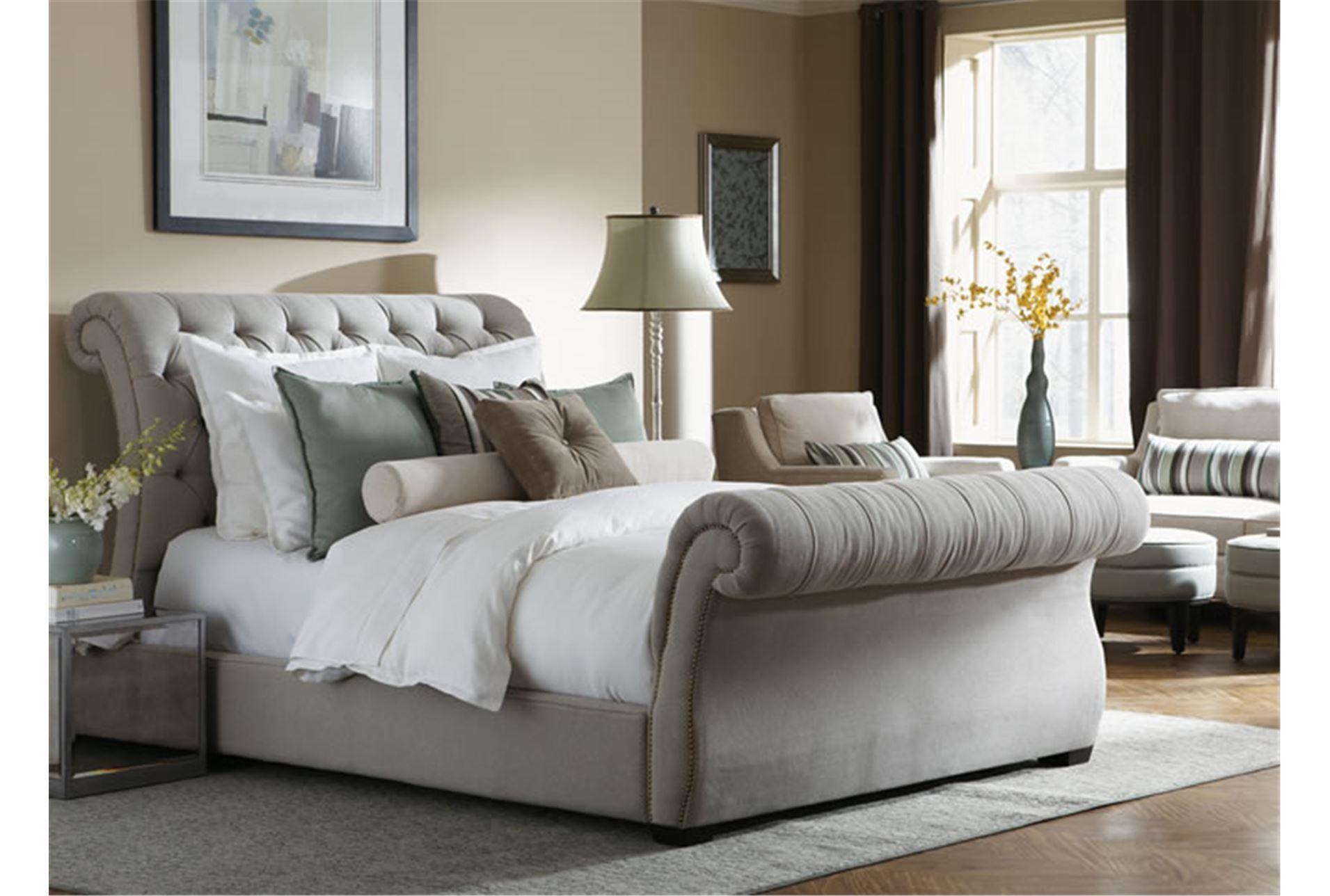 Kensington California King Upholstered Sleigh Bed Living Spaces Upholstered Sleigh Bed Bedding Master Bedroom Sleigh Bed Master Bedroom