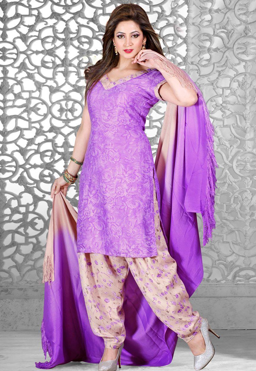 Purple Art Pashmina Salwar Kameez: KCV790   Indian Suits   Pinterest