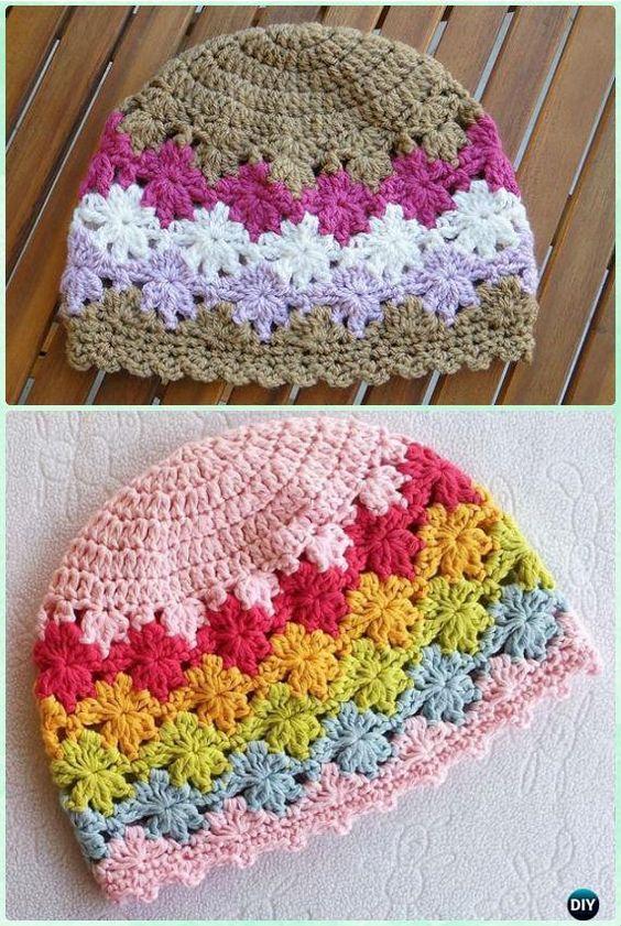 Crochet Perenni Floral Beanie Hat Free Pattern Instruction | Häkeln ...