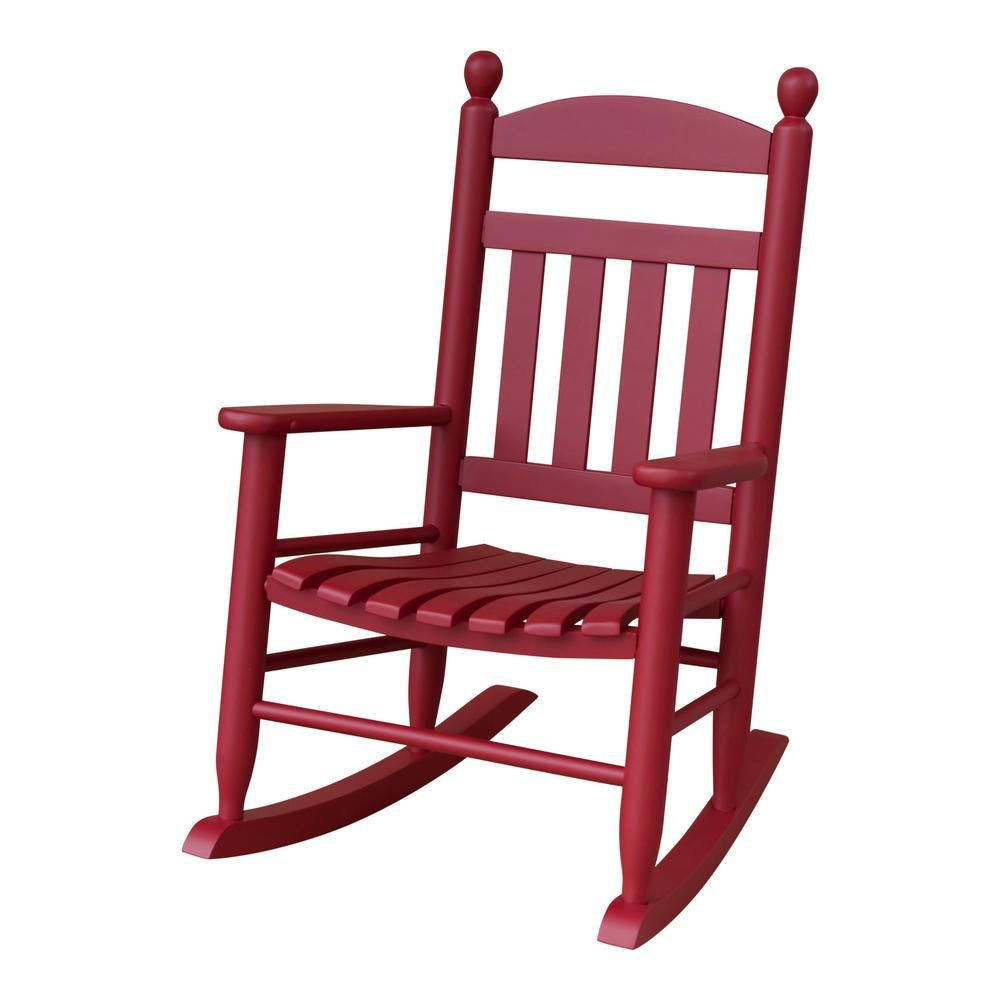 Youth Slat Red Wood Outdoor Patio Rocking Chair 201sef Rta The Home Depot Patio Rocking Chairs Red Patio Outdoor Rocking Chairs