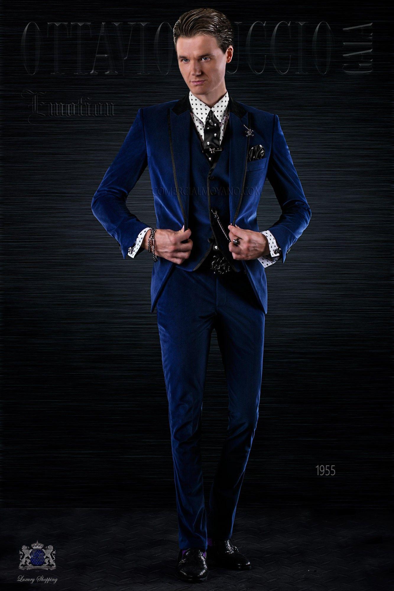 mode blaue herren anzug aus samt mit satin kontrast hohe trend m nner hochzeit anz ge ottavio. Black Bedroom Furniture Sets. Home Design Ideas