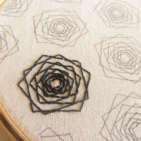 Geometric Roses Embroidery Pattern – Modern Floral Embroidery – Hoop Art