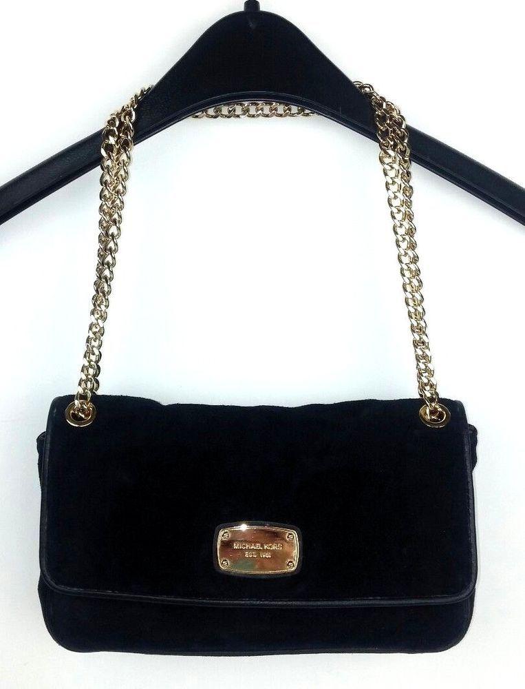 ee9a3efaf3 Michael Kors Black Suede Leather Purse Gold Tone Chain Shoulder Bag Small  Dressy  MichaelKors  ShoulderBag