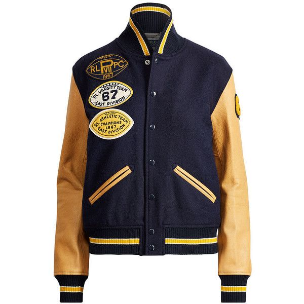 06da58076 Polo Ralph Lauren Collegiate Wool Bomber Jacket ($698) ❤ liked on ...
