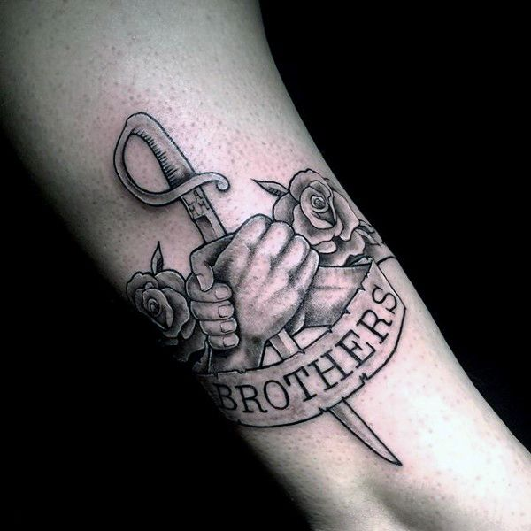 awesome sword brothers banner tattoo on gentleman tatts pinterest sword tattoo and tatting. Black Bedroom Furniture Sets. Home Design Ideas