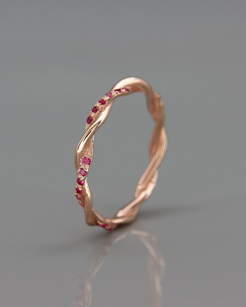 14K Rose Gold Braided Woman Wedding Ring Set with Ruby