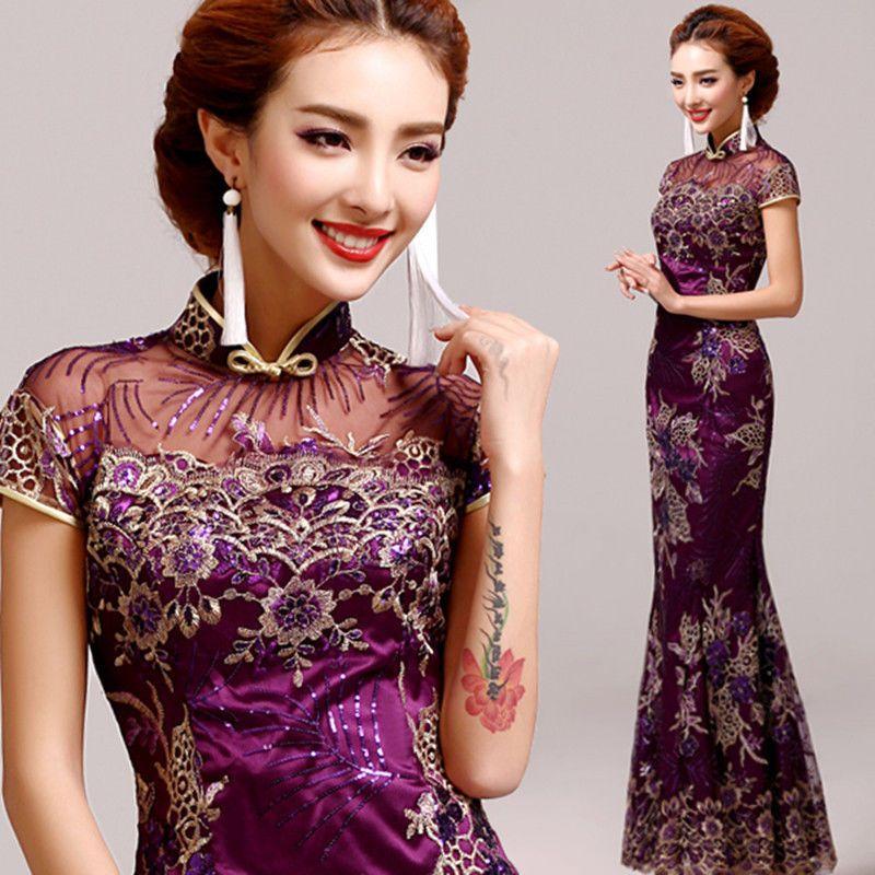 Chinese Cheongsam Evening Prom Wedding Mermaid Dress Ball Gown Sequins Purple #R