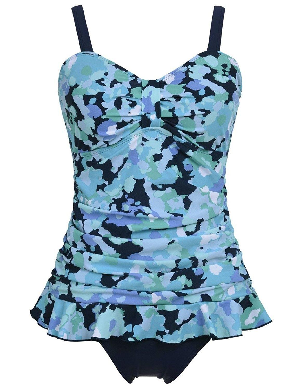 PZZ Retro Floral Flouncing Plus Size Bathing Suits Two Piece Peplum Swimsuits