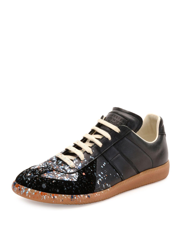 4bfc779c4e7 Pollock Paint-Splatter Leather & Suede Low-Top Sneaker Black in 2019 ...