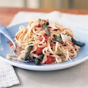 """I make this all the time - sooo delicious and hardly feels """"light"""".  Linguine with Asparagus, Parmesan, and Bacon   Cooking Light"""