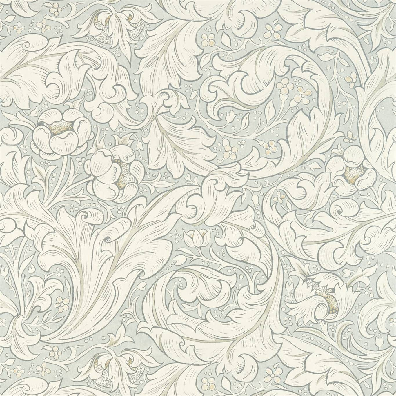 Morris and Co Pure Bachelors Button Grey Blue Wallpaper