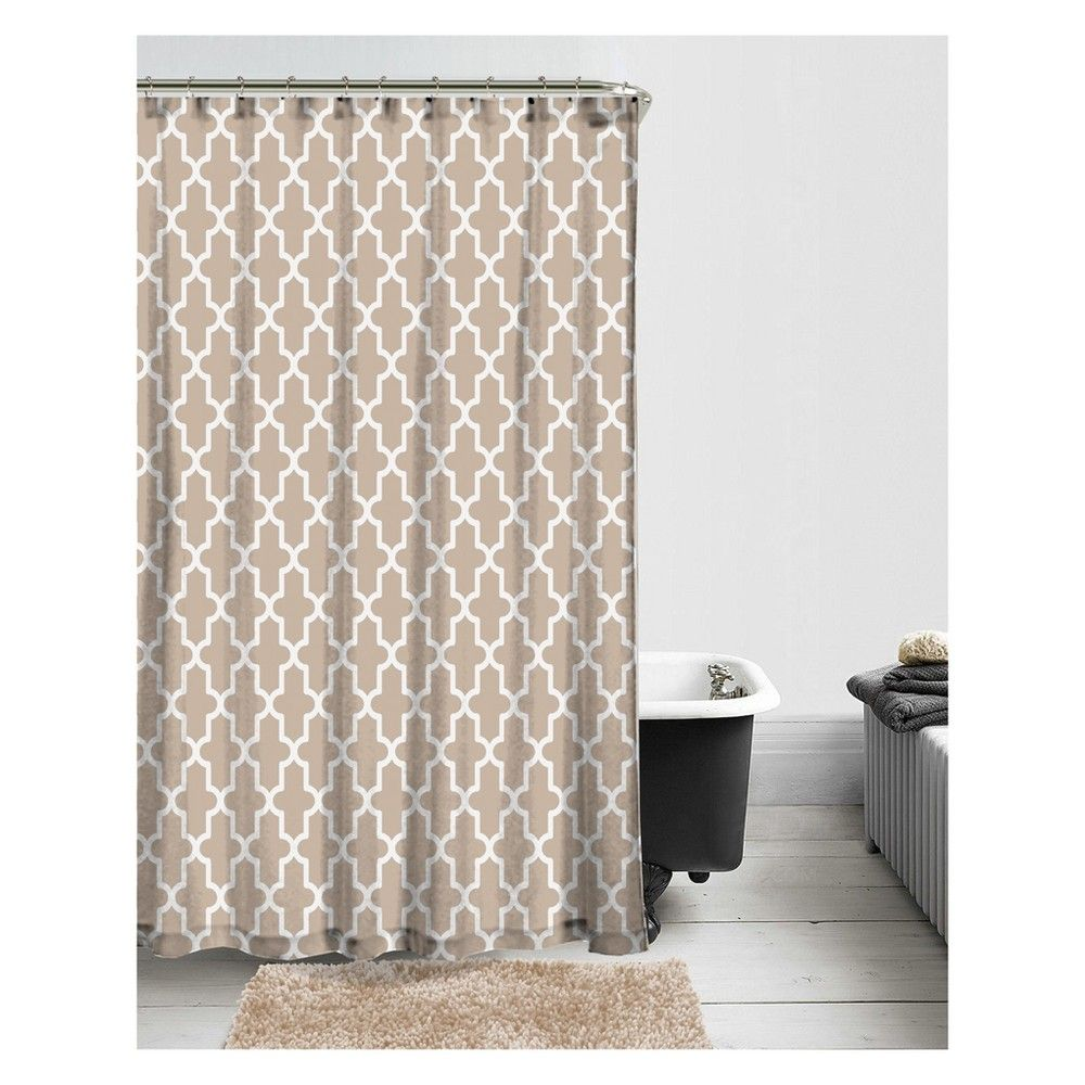 14pc Geo Trellis Shower Curtain And Hook Set Taupe Project 101