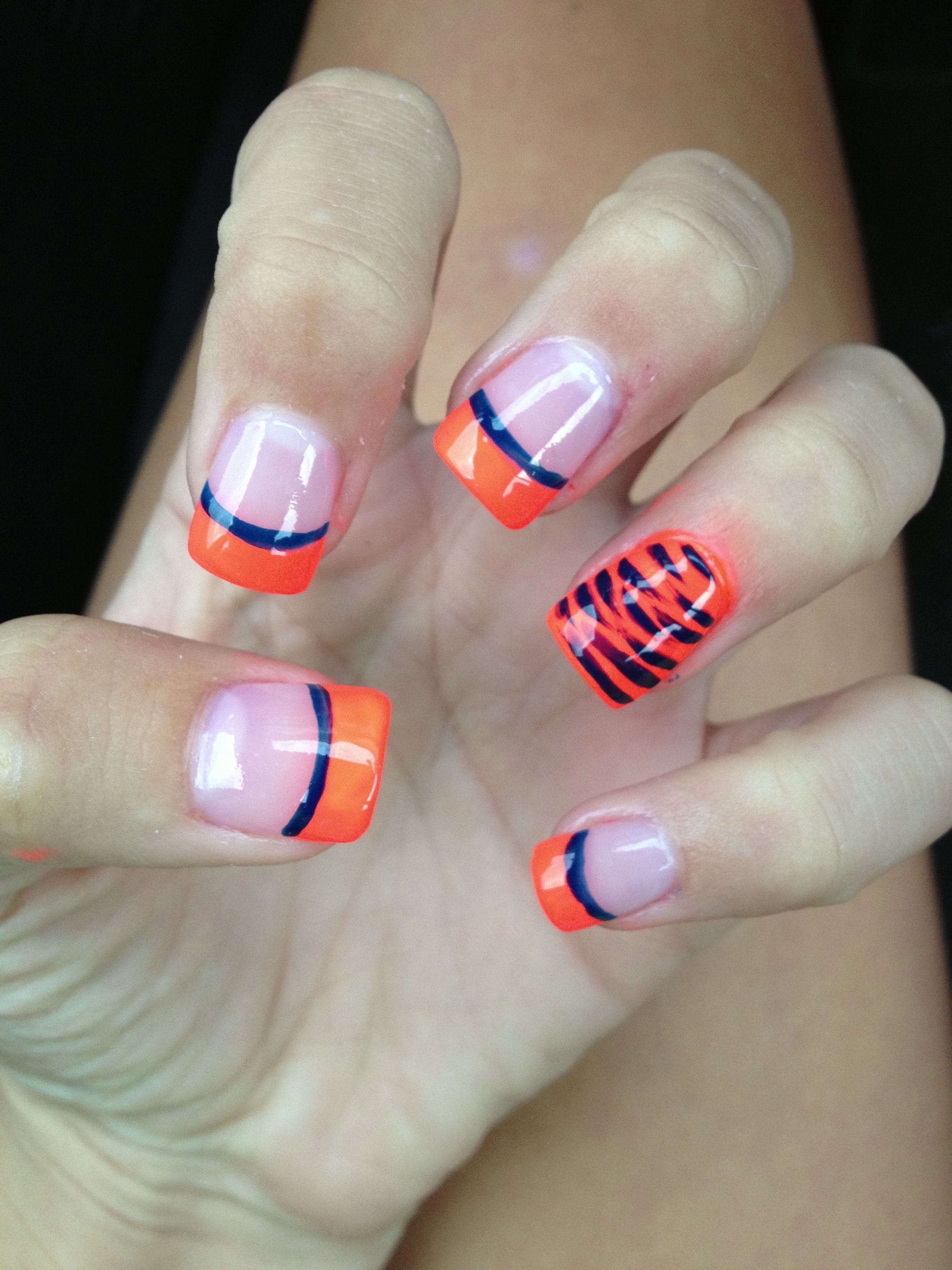 Orange tip with blue stripes with orange accent nails with tiger ...