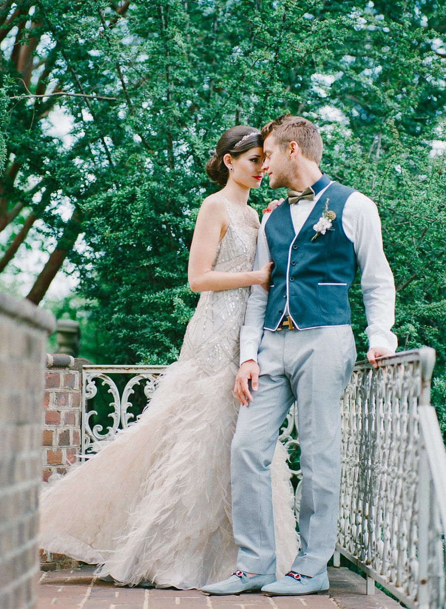 Bride and groom at historic mansion. Sparkly wedding dress by Sue ...