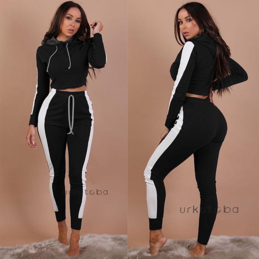 f2e1406a7df New Women Crop Top Blouse +Pants Two-piece Playsuit Bodysuit Jumpsuit  Romper Set