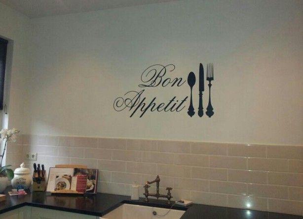 Mooie Muursticker Voor In De Keuken Of Boven De Eettafel Keuken Quotes Keuken Stickers Keukendecoratie