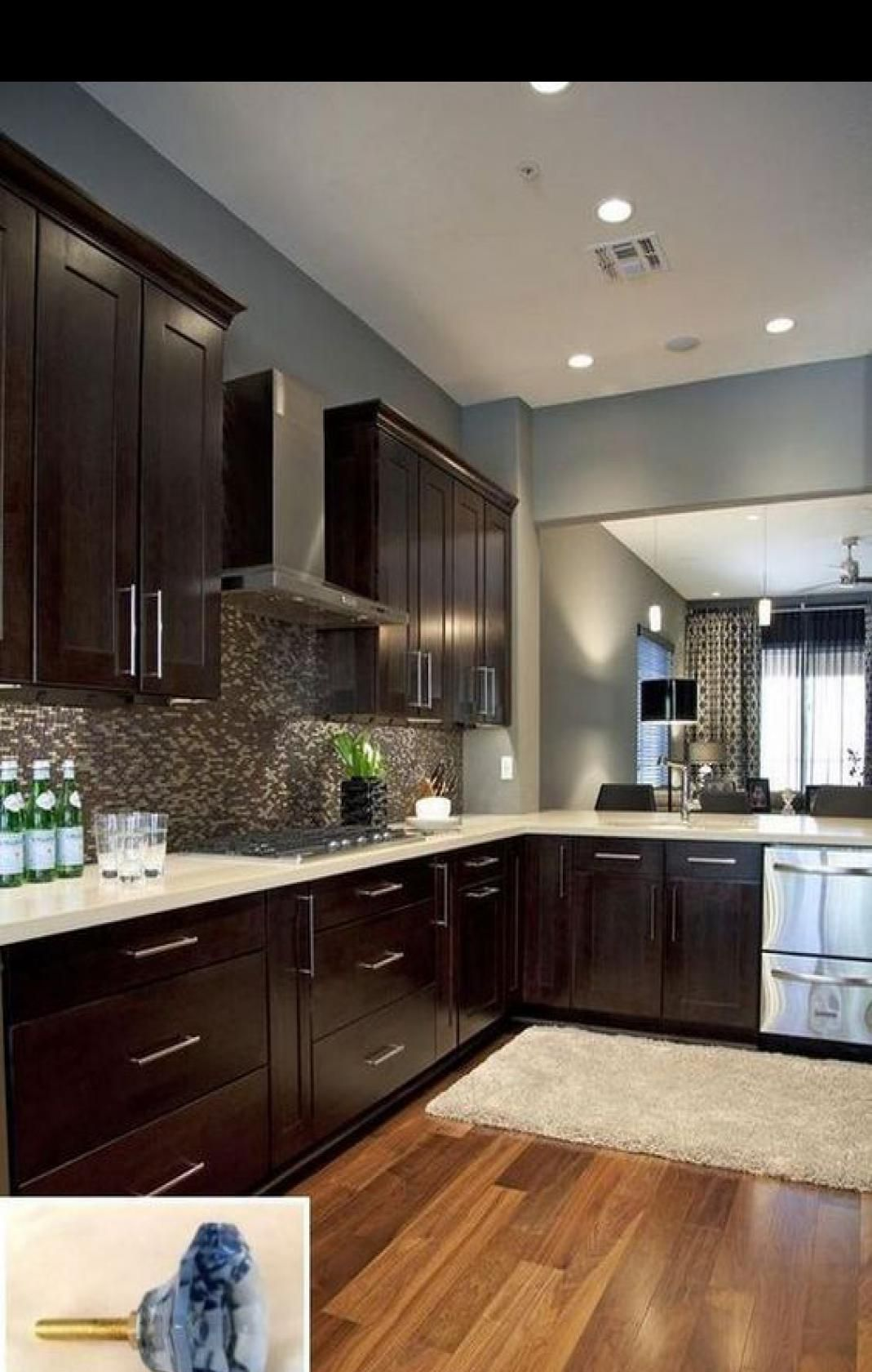 49 Cool Small Kitchen Design With Island Cool Design Island Kitchen Small Dark Brown Kitchen Cabinets Kitchen Cabinet Color Schemes Dark Brown Cabinets
