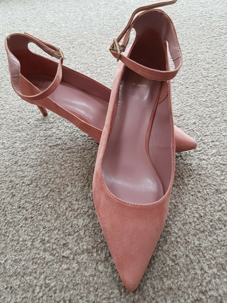 M S Pink Faux Suede Kitten Heel Ankle Strap Court Shoes Wide Fit 6