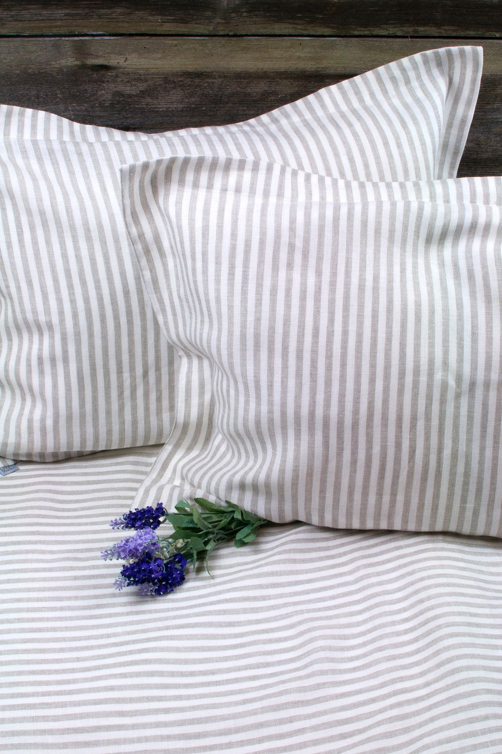 Pure Linen Striped Duvet Cover QUEEN SIZE. via etsy Bed